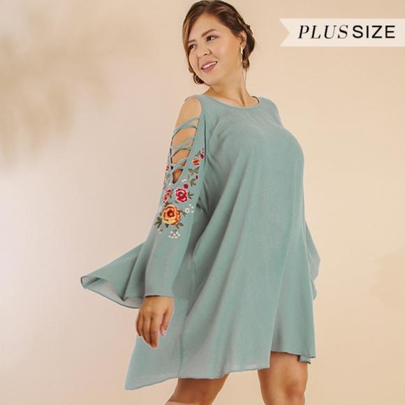 PLUS SIZE Dusty Blue Tunic Dress Boutique